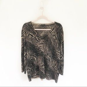 Lafayette 148 New York Zebra Print V-Neck Sweater